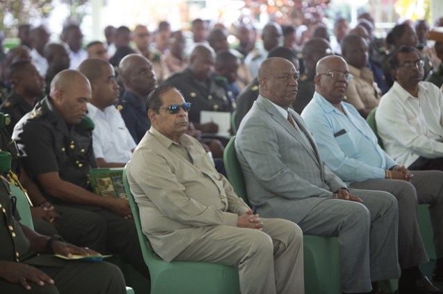 Prime Minister Moses Nagamootoo, Minister of State, Joseph Harmon, Minister of Finance, Winston Jordan and Minister of Public Security, Khemraj Ramjattan at the Guyana Defence Force's Annual Officers' Conference.