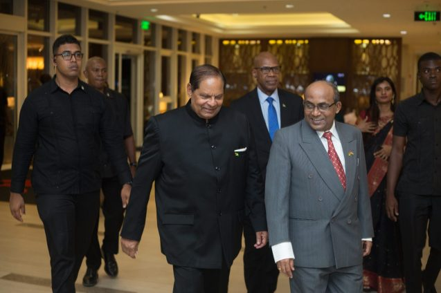 Prime Minister Moses Nagamootoo greeted by High Commissioner of India to Guyana, H.E. V. Mahalingam on his arrival at the Marriott Guyana Hotel