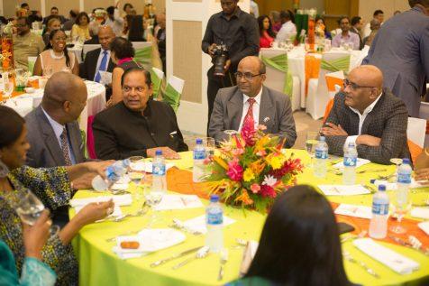 Prime Minister Moses Nagamootoo, H.E. V. Mahalingam, Minister of State Joseph Harmon and Former President Bharrat Jagdeo in conversation