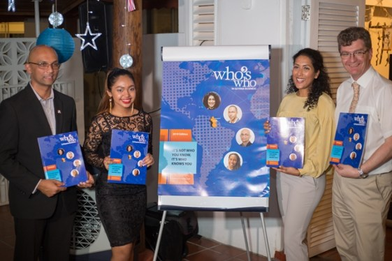 [In the photo, from left] Action Invest Caribbean, Executive Chairman Vishnu Doerga, Action Invest Caribbean Administrative Director, Davitri Doerga, GoInvest Chairperson Patricia Bacchus and British High Commissioner, Greg Quinn at last night's launch.