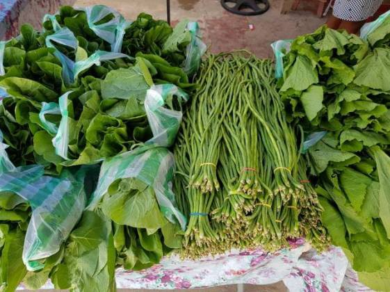 Fresh greens and vegetables grown in Linden.
