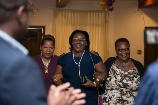 Minister within the Ministry of Natural Resources, Simona Broomes being welcomed by President of the National Mining Syndicates, Cherryl Williams and president of the Ikereku Mining Syndicate, Dana Jones
