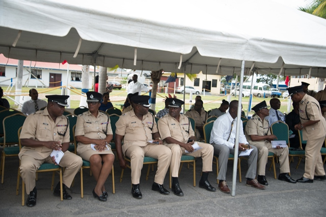 Some of the Guyana Police Force senior officers interact as they await the Parade.