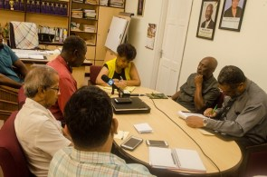 Minister of Social Protection, Amna Ally, Minister within the Ministry of Social Protection, Keith Scott, Chief Labour Officer, Charles Ogle along with representatives from the Guyana Bauxite and General Workers' Union.