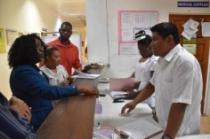 Minister Cummings interacting with nurses at the Lethem Regional Hospital.