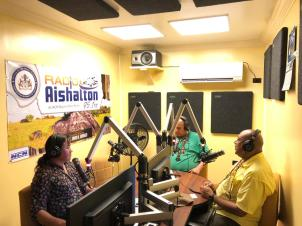 Minister of Natural Resources, Raphael Trotman, Minister of Social Cohesion, Dr. George Norton in studio with Aishalton Radio Host, Leah Cassimero
