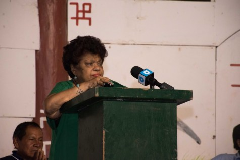 Minister of Social Protection Amna Ally addressing the young people of St. Ignatius