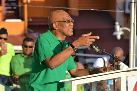 President David Granger addressing the gathering at Vreed-en-Hoop.