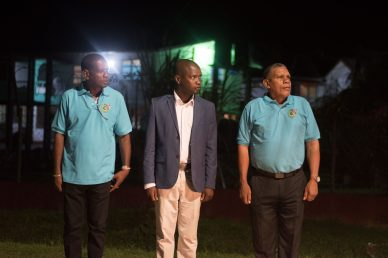 (From right) Regional Chairman of Cuyuni/ Mazaruni Region, Gordon Bradford, Mayor of Bartica, Gifford Marshall and a member of the Bartica Municipality