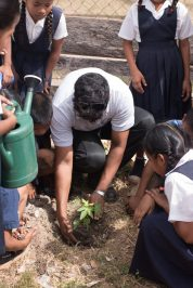 Students of the Arapaima Primary School taking part in a session on tree planting on Thursday