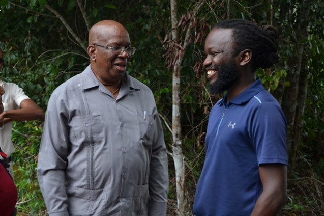 Jacob Agro's Mark Jacobs in conversation with Minister of Finance, Winston Jordan.
