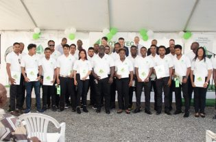 The graduates along with Minister of Business, Dominic Gaskin, CEO of TOTALTEC, Lars Mangal and officials from TOTALTEC Academy.