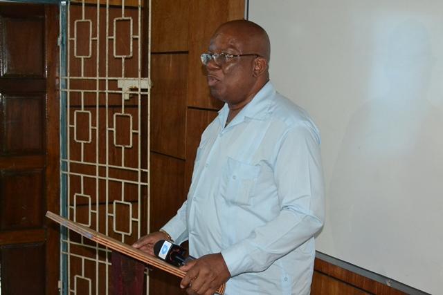 Minister of Finance, Winston Jordan addressing employees of Barama.