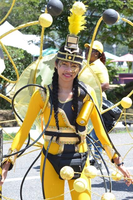 Masqueraders in full costume on the road, Mashramani 2019 in Guyana.