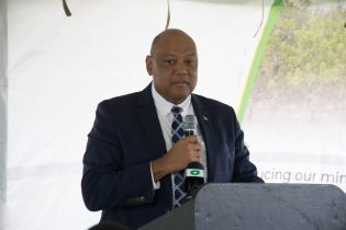 Minister of Natural Resources, Raphael Trotman addresses students and special invitees during the launch of the Mineral Prospect and Map Reading Level 1 course at the Linden Technical Institute