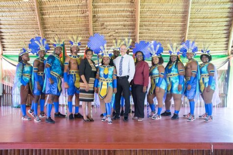 Minister of Business, Dominic Gaskin and Permanent Secretary of the Ministry, Rajdai Jagarnauth with the revellers.