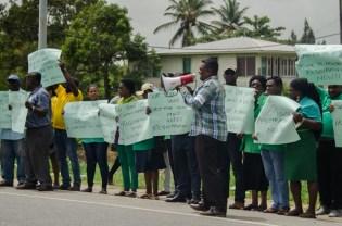 Protestors in front of GECOM Office.