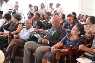 Minister of Finance, Winston Jordan among those in attendance at the viewing and service at the Merriman Funeral Home.