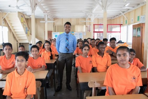 Vice Principal, Rodley Mathoo and students.