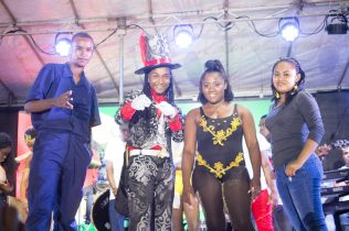 [In the photo, from left to right] Newly crowned Junior Calypso Monarch, Jamal Stewart, runner-up Jovinski Thorne, in third place Jada Harry and in fourth place, Kezia Henry