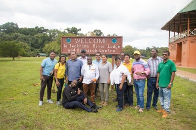 Deputy Minister of Mineral Resources of South Africa, Godfrey Oliphant and his team at the Iwokrama River Lodge and Research Centre.
