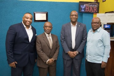 [In the photo, from left to right] Supreme Ventures Enterprise, General Manager, Stephen Summers, Minister of Foreign Affairs, Carl Greenridge, Minister of State, Joseph Harmon and Supreme Ventures Enterprise, Chairman of the board Walter Scott officially opening iBET Supreme.