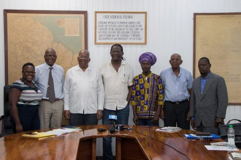 [In the photo, from left to right] General Contractors Association of Guyana (GCAG) Secretary, Jonette April, Chairman of the National Procurement and Tender Administration, Berkeley Wickham, Minister of Finance, Winston Jordan, Current President of GCAG, Neil Cort-Rogers, Committee Member Shefetah Tzedeq, GCAG Past-President, Aubrey Jones and Committee Member Elroy Adams