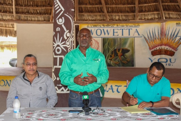 Minister within the Ministry of Social Protection, Keith Scott, Ministerial Advisor at the Ministry of Indigenous Peoples' Affairs, Mervyn Williams and Legal Advisor at the Ministry of Indigenous Peoples' Affairs, David James at Wowetta.