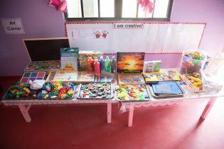 The arts corner in the Tabatinga Annexe Arapaima Nursery School