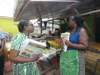 Minister of Education, Dr. Nicolette Henry meeting with Linden residents at the Mackenzie Market arena during a ministerial outreach on February 2
