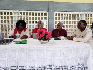 [In the photo, from left to right] Vice Chairman of the Teaching Service Commission, Avril Crawford, Commissioner Deborah Thomas, Commissioner Amjad Shaw and Regional Education Officer (REO), Region 3, Annesta Douglas.
