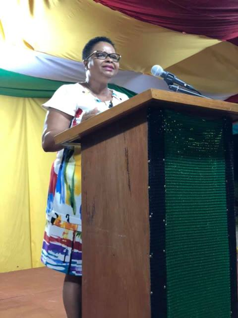 Minister of Public Health, Volda Lawrence while delivering feature remarks in Mahdia, in observance of Guyana's 49th Republic anniversary.