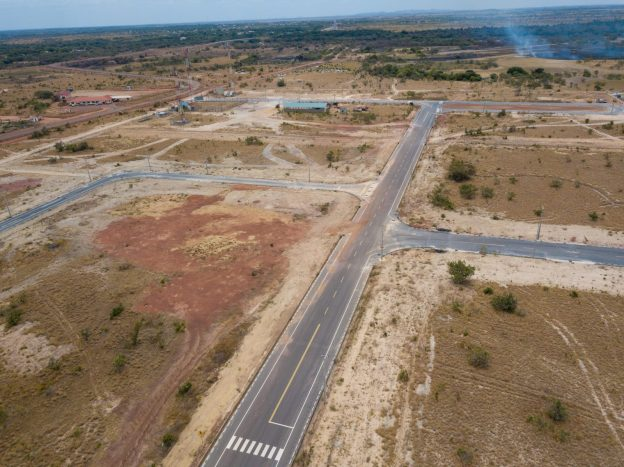 Aerial view of a section of the road network at the Lethem Industrial estate