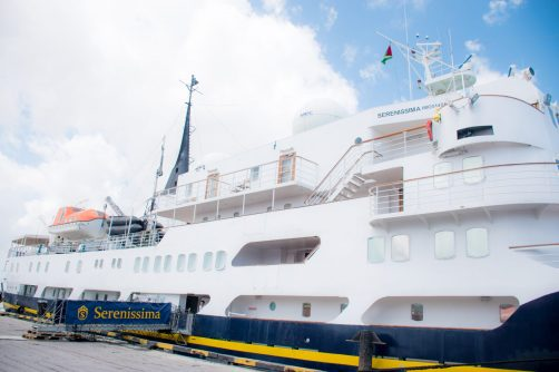 The MS Serenissima docked in port Georgetown