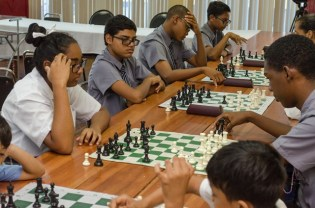 The chess team slated to represent Guyana, putting in the work.