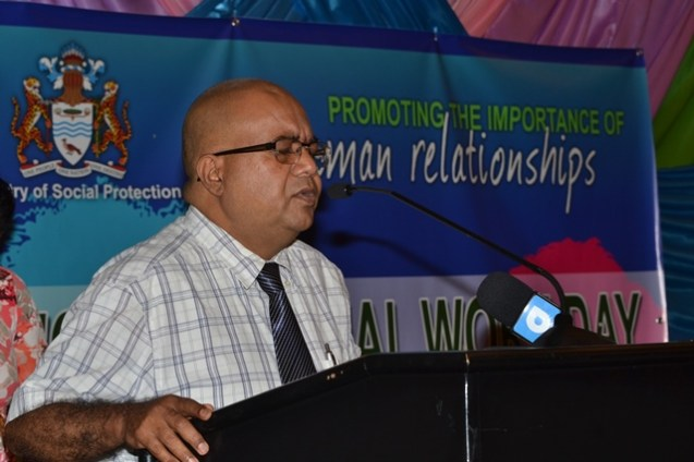 Ministry of Social Protection, Deputy Permanent Secretary, Mohan Ramrattan opening the seminar at the Marriot Hotel.