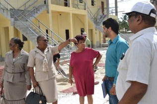 Minister Amna Ally and team inspecting the construction.