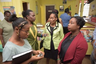 [From left to right], Medical officer of Health, Dr. Suzette Reynolds, Town Clerk, Sharon Harry and Councillor Trichria Richards.