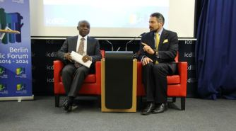 Minister Greenidge and Director General of the Institute for Cultural Diplomacy, Mark Donfried field questions from attendees.