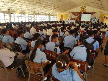 Young people in attendance at the opening ceremony of the Essequibo Technical Institute Job Fair.