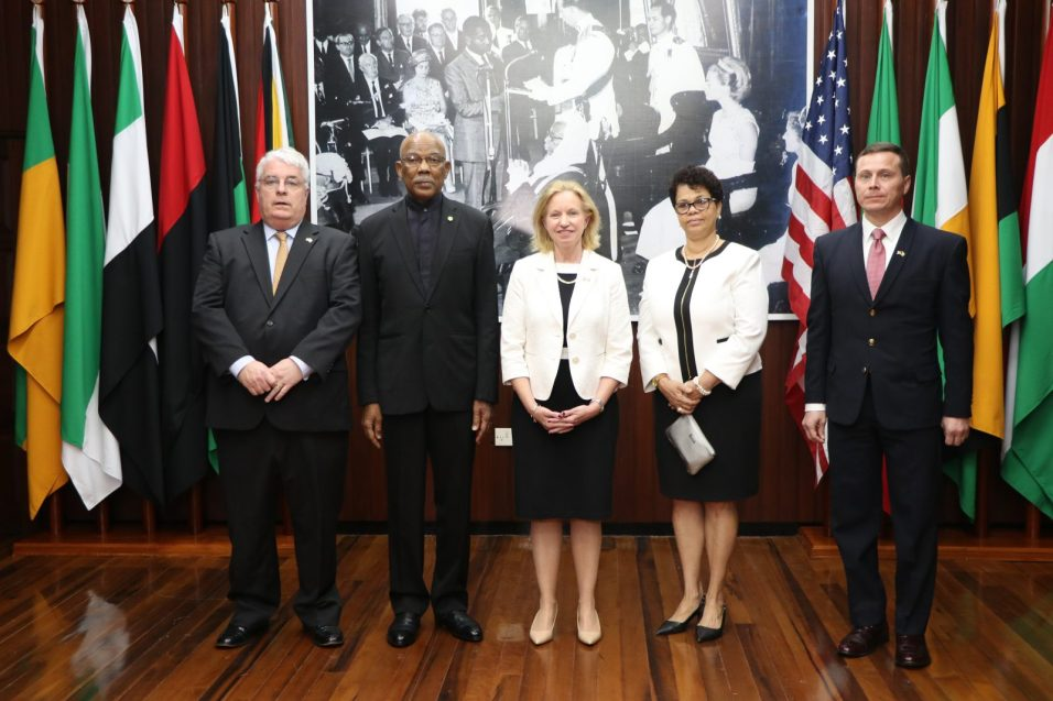 [In the photo, from left to right] Dr Kevin Healy ,President David Granger, newly accredited US Ambassador to Guyana Sarah-Ann Lynch, Director-General in the Ministry of Foreign Affairs, Audrey Waddell and Deputy Chief of Mission, Terry Steers-Gonzalez.