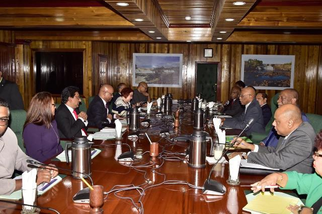 The government delegation led by HE President David Granger in talks with the group led by opposition leader Bharrat Jagdeo on January 9, 2019.
