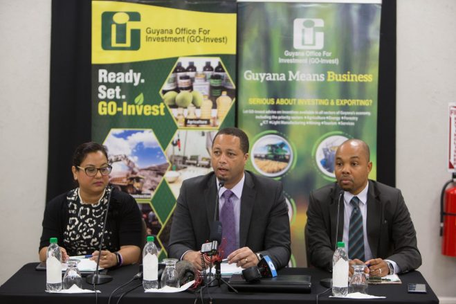 [In the photo, from left to right] Deputy Chief Executive Officer, Natalia Seepersaud, Chief Executive Officer of GO-Invest, Owen Verwey