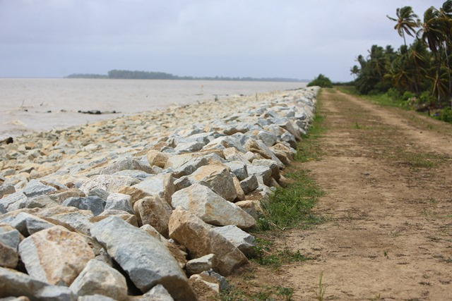 A section of the Sea and River Defence Resilience project on the Essequibo Coast.
