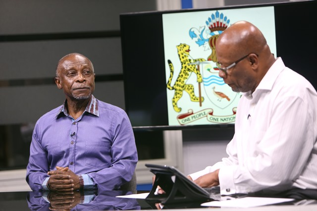 Minister of Foreign Affairs, Carl Greenidge and NCN Chairman and host Enrico Woolford in studio.