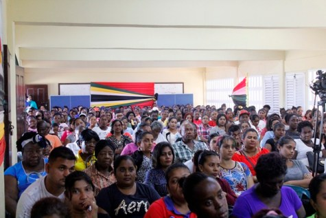 A section of the hundreds of parents gathered at the meeting.