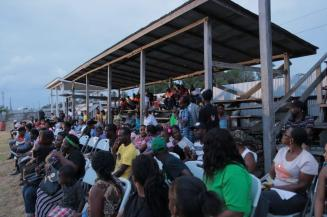 A section of the residents who gathered to meet with the ministers at Scottsburg, Corriverton