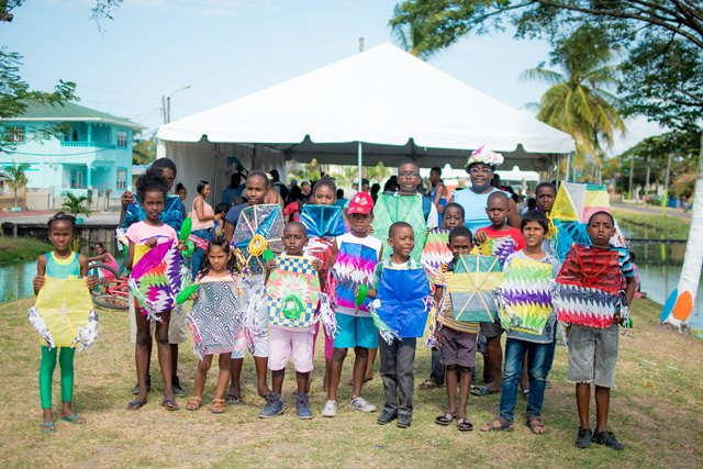 Some of the children posing with their finished kites.