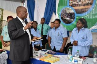 Minister of State, Mr. Joseph Harmon addressing staff members of the National Centre for Education Resource Development (NCERD). The Minister urged the team to consider more local content for its Learning Channel