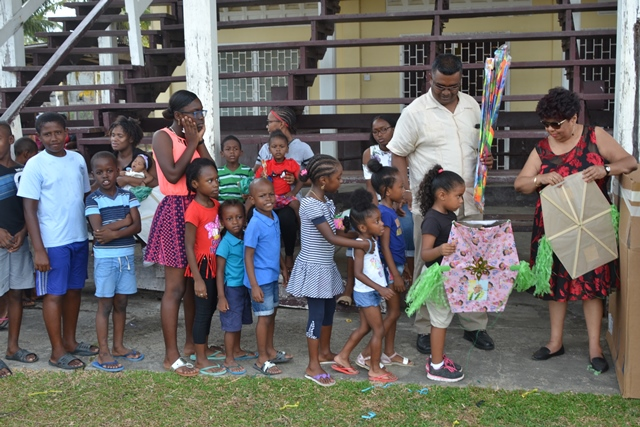 Minister of Social Protection, Amna Ally at the kite distribution at Farm, West Coast of Demerara (WCD).